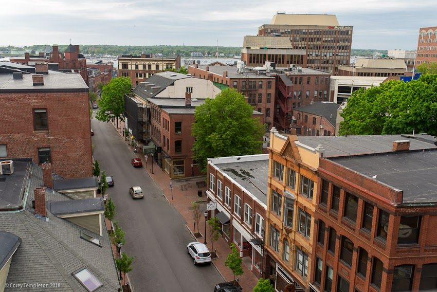 Portland, Maine USA May 2018 photo by Corey Templeton. An aerial view down Exchange Street from the Press Hotel.