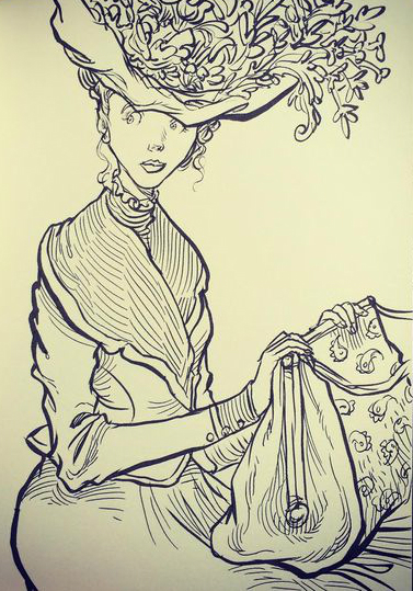Chris Riddell Lady With Carpet Bag From Sketchbook