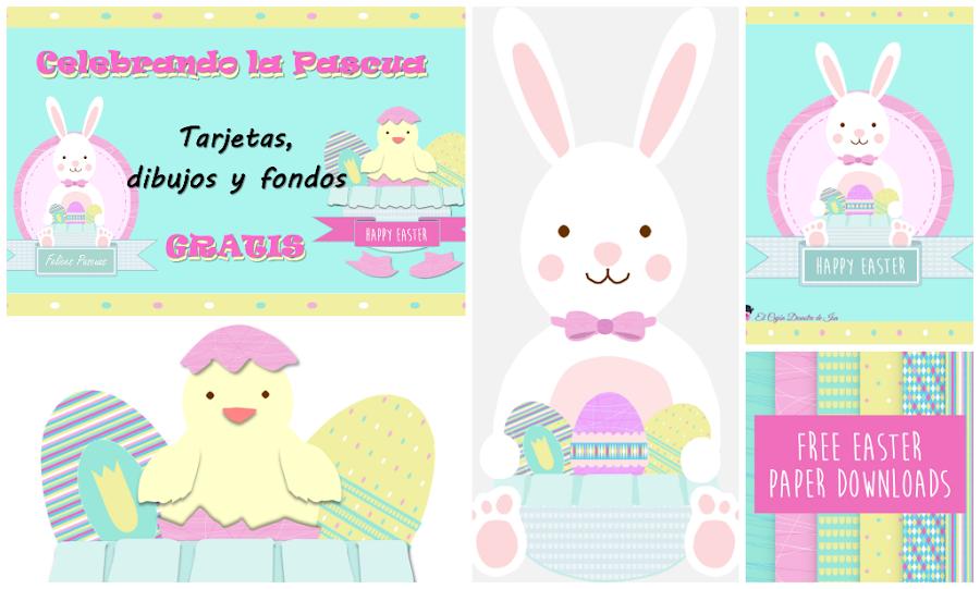 foto enlace para descargar gratis fondos, papeles, tarjetas de felicitación, dibujos de conejo y huevos de Pascua para scrapbook digital, manualidades, celebraciones