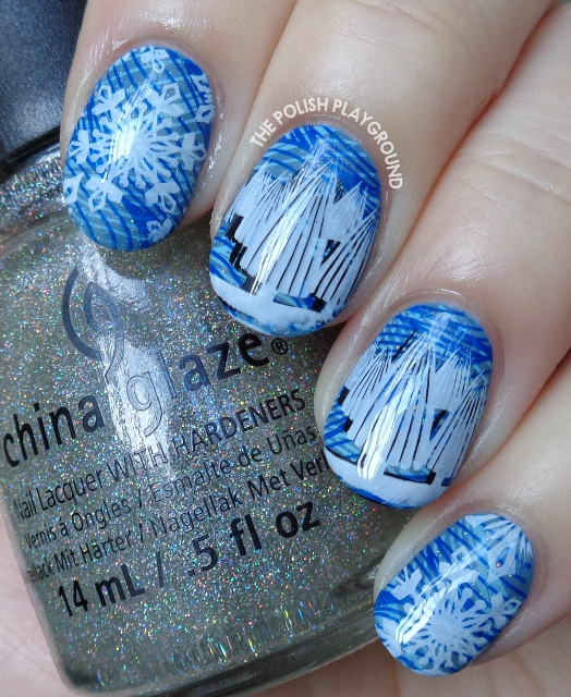 Winter Snowflakes and Trees Stamping Nail Art