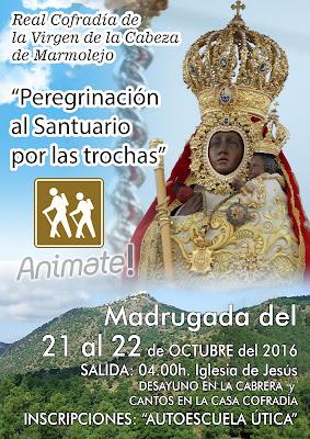 Cartel peregrinación 2016 hacia el Santuario de la Cofradía de la Virgen de la Cabeza de Marmolejo.