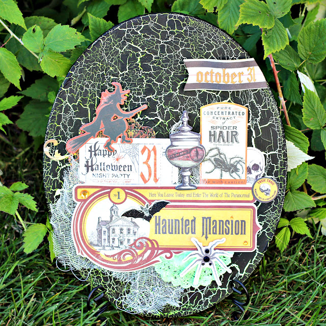 Oval Canvas for Fine Arts Friday featuring Wonderfully Wicked collection and Black Crackle Paste by BoBunny designed by Rhonda Van Ginkel