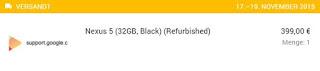 Nexus 5 Refurbished-2: erwartetes Liefertdatum 17.-19.11.2015