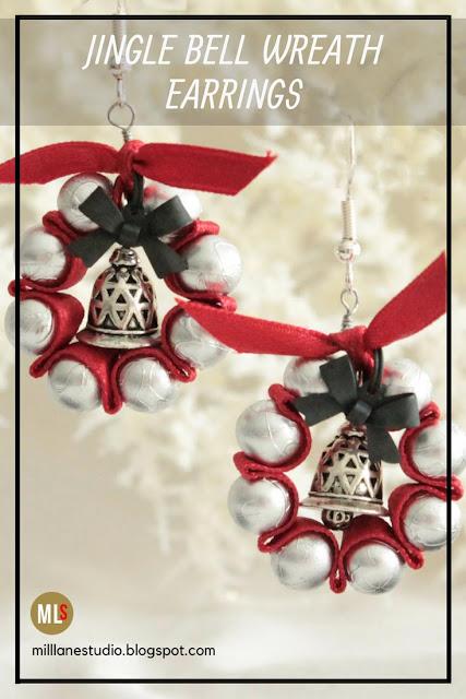 Jingle Bell Wreath Earrings pinterest pin