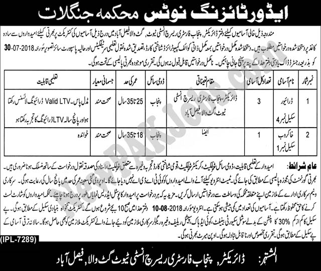 Latest Jobs in Agriculture Research Department July 2018
