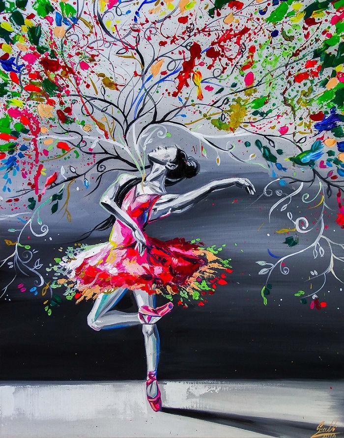 10-Spring-In-My-Heart-Vivien-Szaniszlo-Movement-Captured-with-the-Dancing-Ballerina-Paintings-www-designstack-co