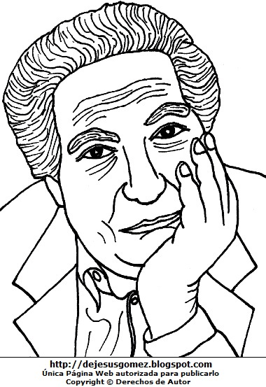 Imagen de Octavio Paz para colorear o pintar. Dibujo de Octavio Paz de Jesus Gómez