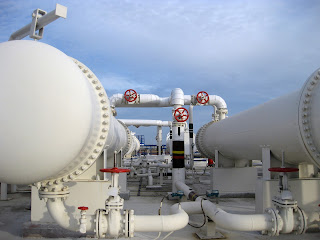 large shell and tube heat exchangers at oil refinery
