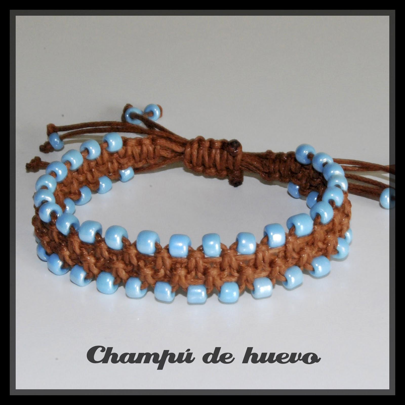 d8c4f19a1d29 Pulsera doble marrón perlas azules