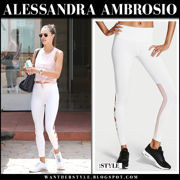 Alessandra Ambrosio in pink top and white leggings victorias secret knockout august 26 2017