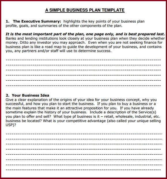 Simple Business Plan Template  Resume Business Template