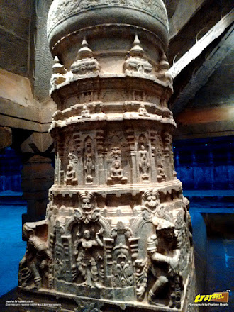 Close-up of an intricately carved pillar in the Bhairadevi Mantapa of the Thousand Pillared Jain Temple in Moodabidri, near Mangalore, Karnataka, India - called as Tribhuvana Tilaka Chudamani basadi or Chandranatha basadi, also known as Saavira Kambada Basadi in Dakshina Kannada district, near Mangalore, Mangaluru, Karnataka, India