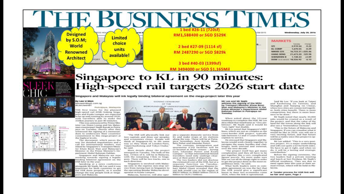 Singapore to KL in 90 minutes: High-speed rail targets 2026 start date