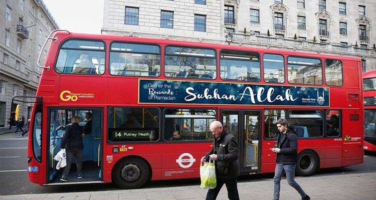 """السبب وراء وضع حافلات لندن ملصقات كتب عليها """"سبحان الله"""""""