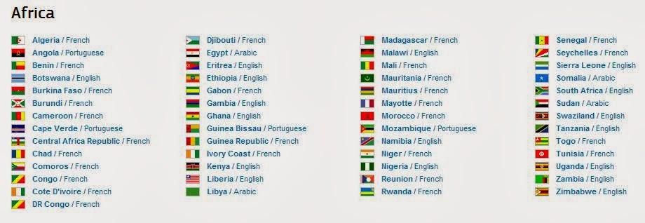 Основные государственные языки стран Африки