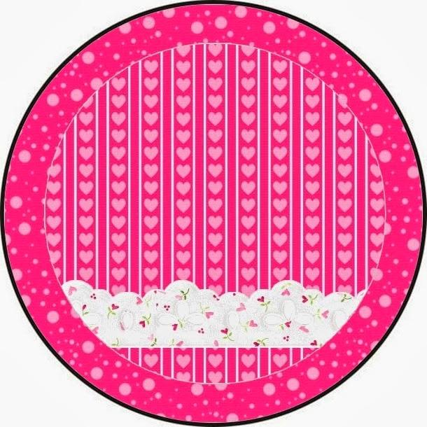 Toppers o Etiquetas para Imprimir Gratis de Corazones Rosa.