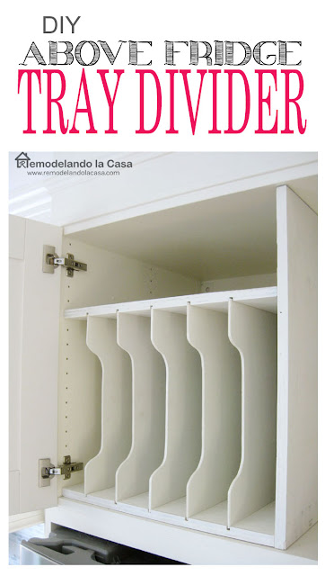empty tray divider diy above the refrigerator.