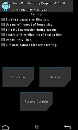 twrp recovery setting