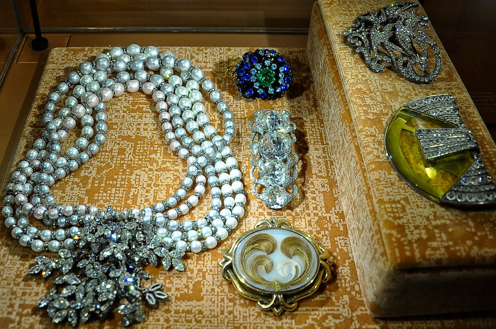 Fashion designer jewellery pieces in the Fashion room in the Museum of the Jewellery in Vicenza