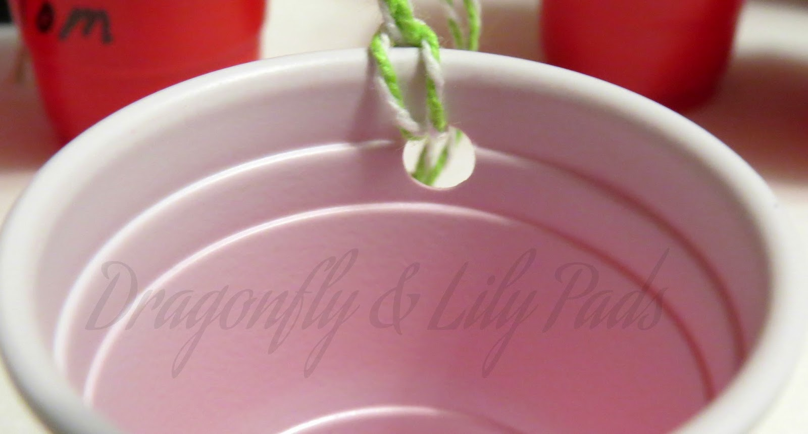 Red Solo Cup twine tied ornament, Names written on Red Solo Cups, Red, Blue, Green, White Twine