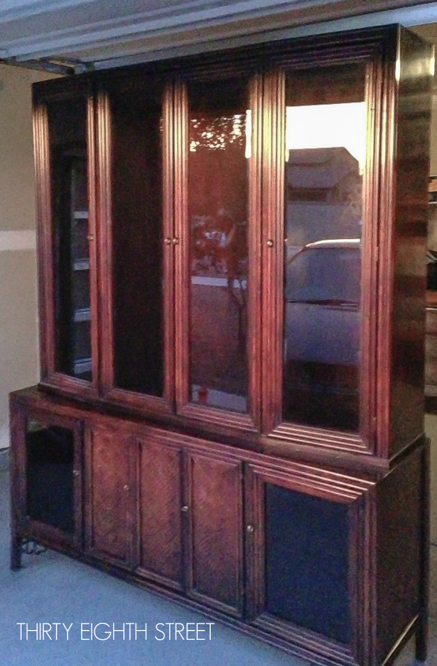 up-cycled china hutch, china cabinet makeover, painted china cabinet, chalk painted furniture, how to make signs with doors, halloween diy sign