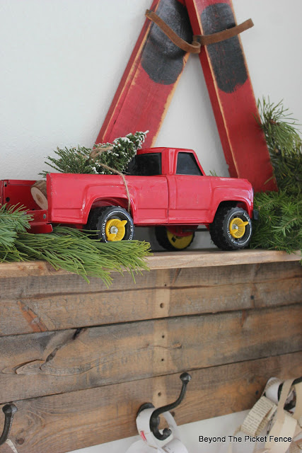 use an old metal truck for Christmas decor