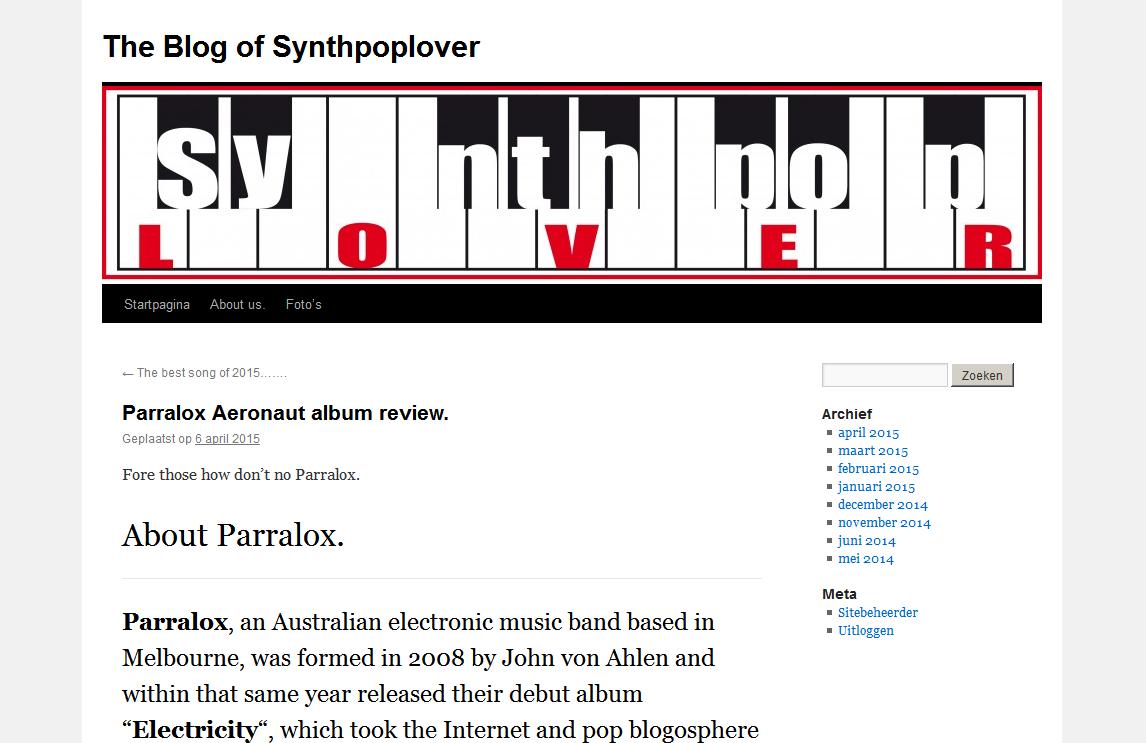 Synthpop Lover (Netherlands) blog reviews Aeronaut