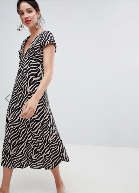 stradivarius tiger print v front dress