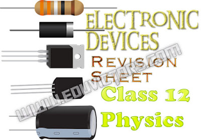 CBSE Class 12 - Physics - Chapter 9 - Electronics Devices - Revision Sheet (#cbseNotes)