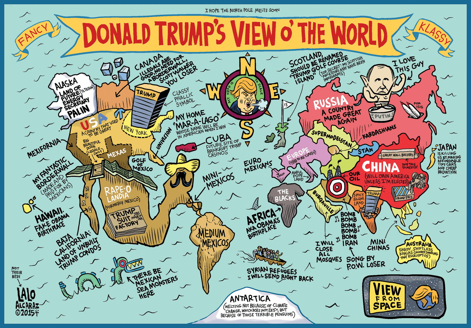 A map of the World according to Donald Trump - 2015