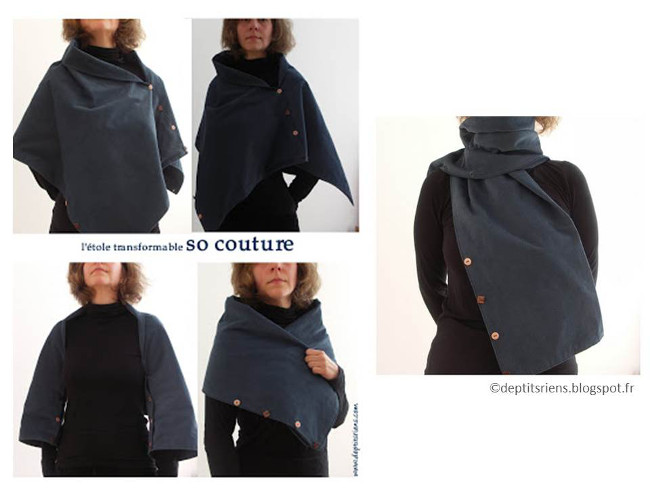 L étole transformable en écharpe en velours milleraies bleu chine, vous  trouverez les explications du montage à imprimer ici, et quelques détails  de sa ... d3733769438