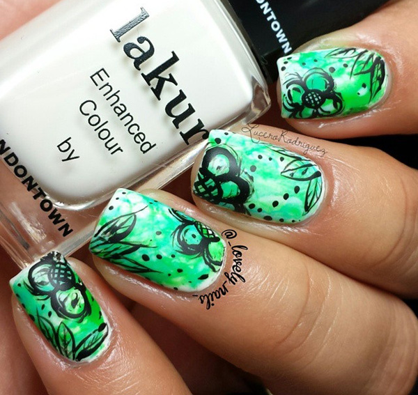 Fascinating watercolor nail art ideas black paint drip watercolor design paint on light watercolor pastels as background and complete the look by adding black polish paint drips on the top prinsesfo Choice Image