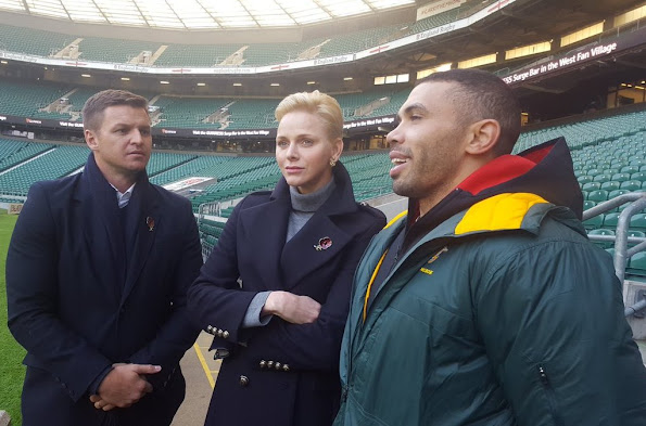 Princess Charlene, Princess Gabriella, Prince Jacques at Twickhenham rugby stadium, princess Charlene style fashion wore blue coat