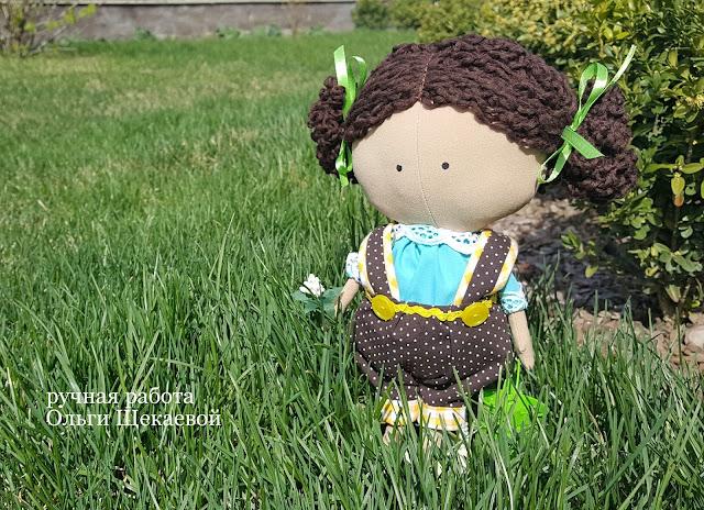 тильда-малышка,кукла, с ведром