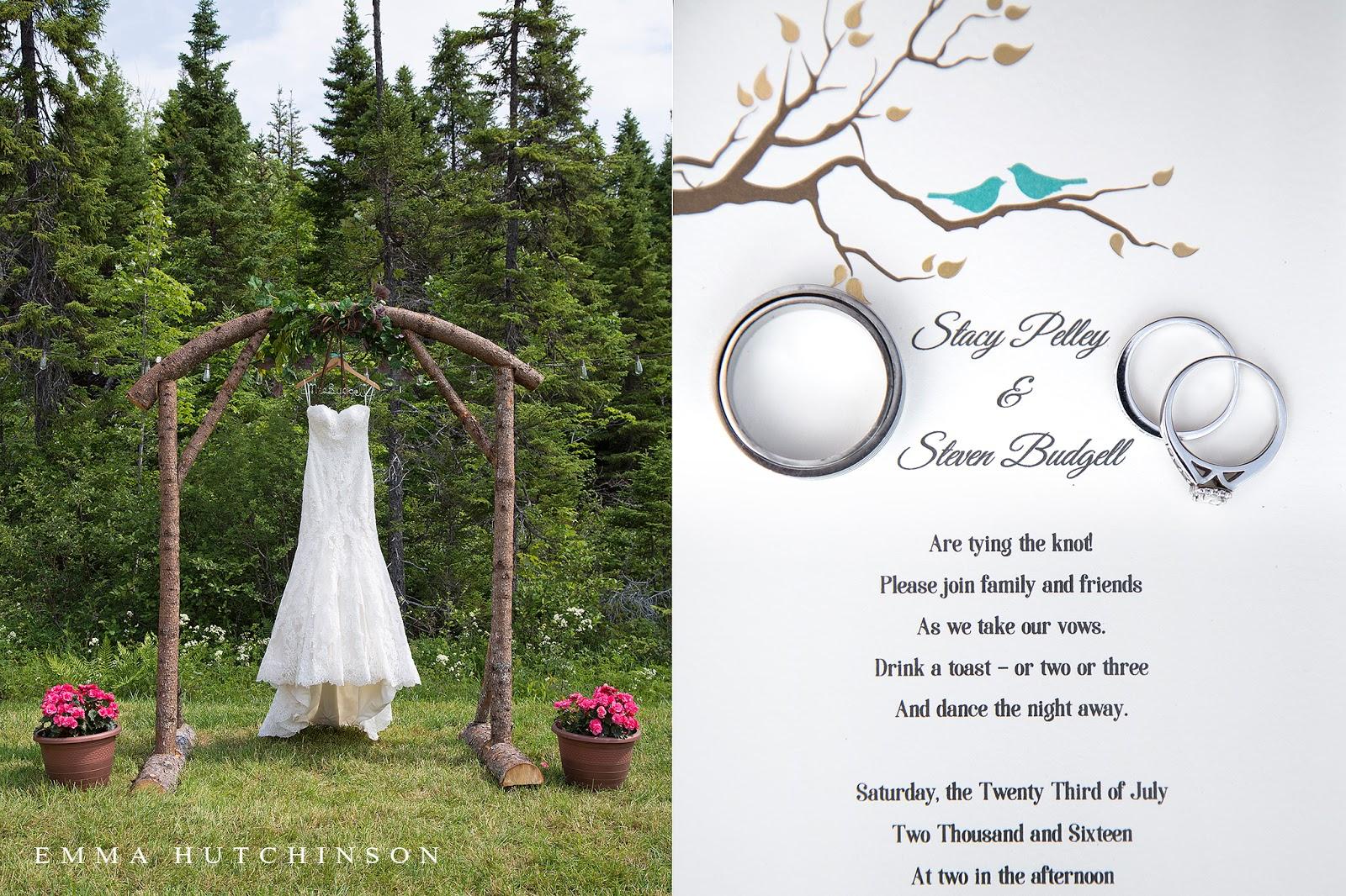 Newfoundland backyard wedding - DIY wood arch