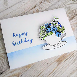 Birthday card with stamps from Wplus9