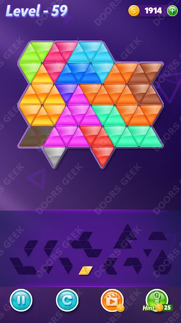 Block! Triangle Puzzle Champion Level 59 Solution, Cheats, Walkthrough for Android, iPhone, iPad and iPod