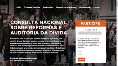 Auditoria Cidadã da Dívida e entidades promovem Consulta Nacional sobre as reformas do governo