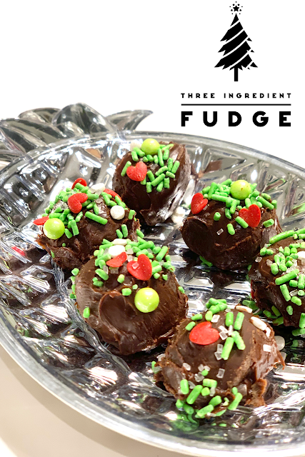 round pieces of fudge in a silver pineapple dish