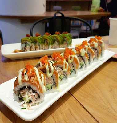Rollie Olie Caterpillar and Sunkissed Salmon Sushi Roll