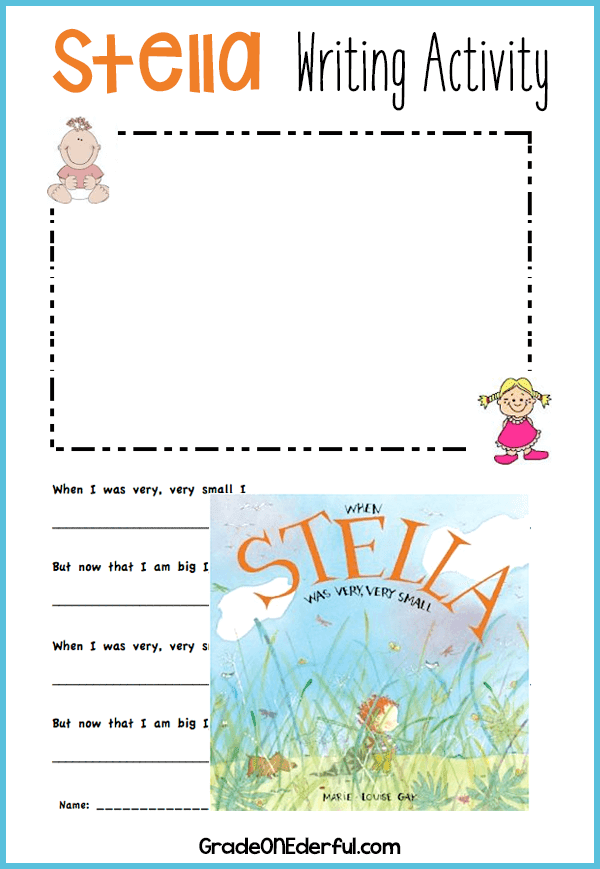 When Stella Was Very Very Small by Marie Louise Gay. This is one of my favourite books! Come visit and grab the free writing template (one for boys and one for girls). #marielouisegay #stellabooks #writingtemplate #gradeonederful