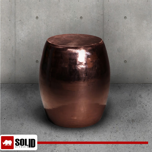 hammered drum side table