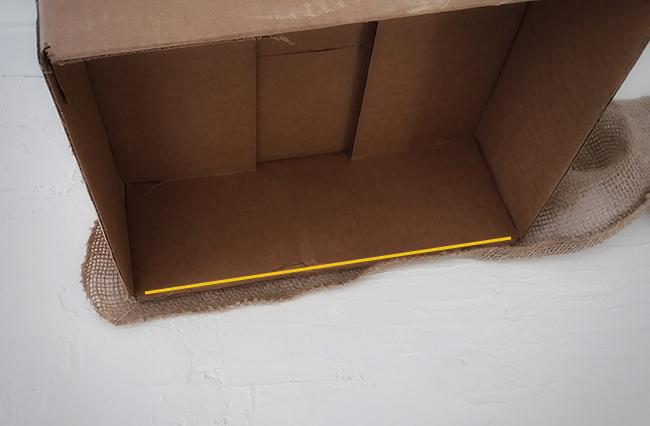 glue burlap to box