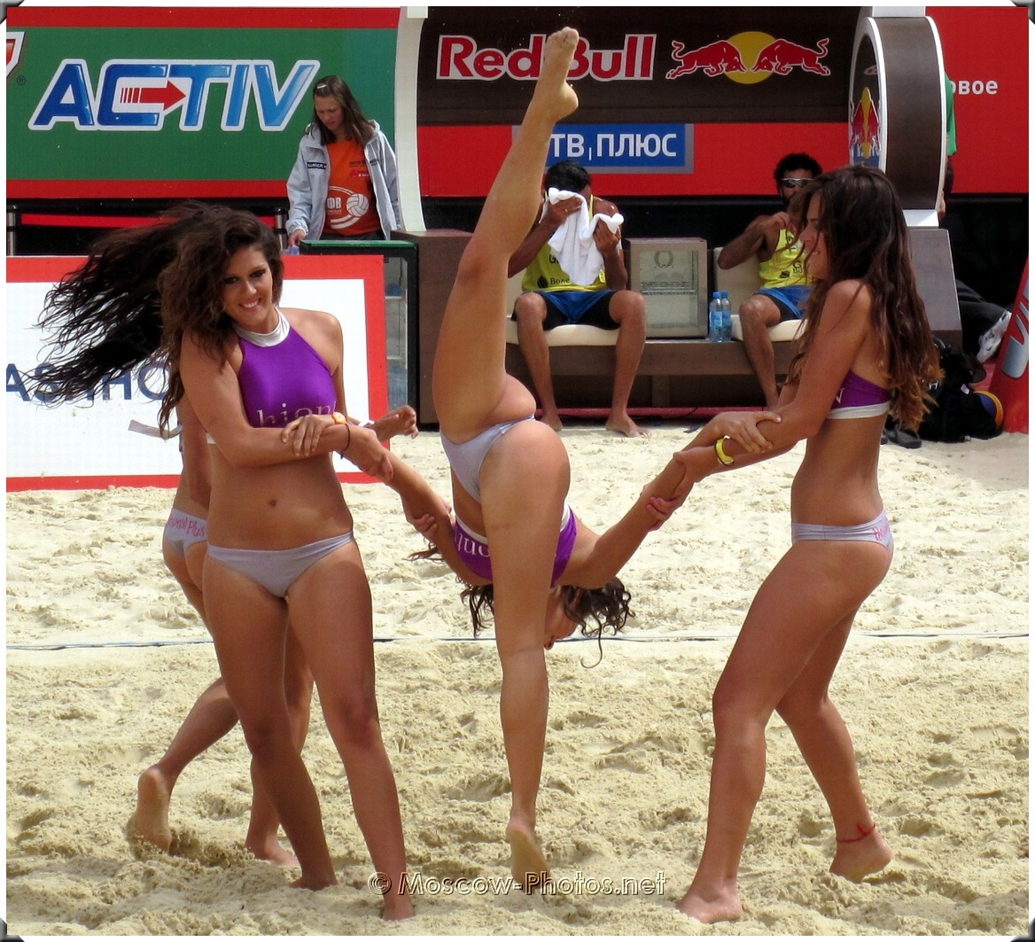 Difficult Exercise Of Beach Volley Girls