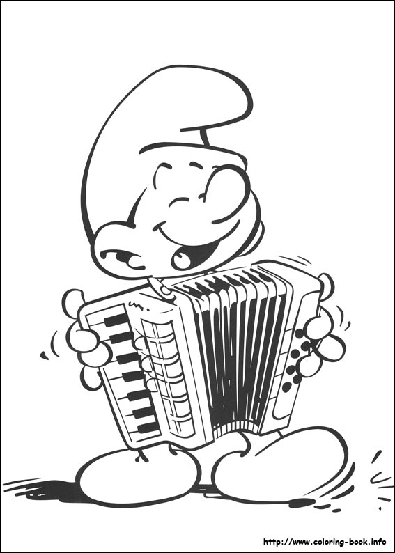 transmissionpress: Smurf Playing Music Coloring Pages