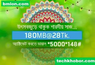 Grameenphone-180MB-3Days-28Tk-Dial-*5000*148#