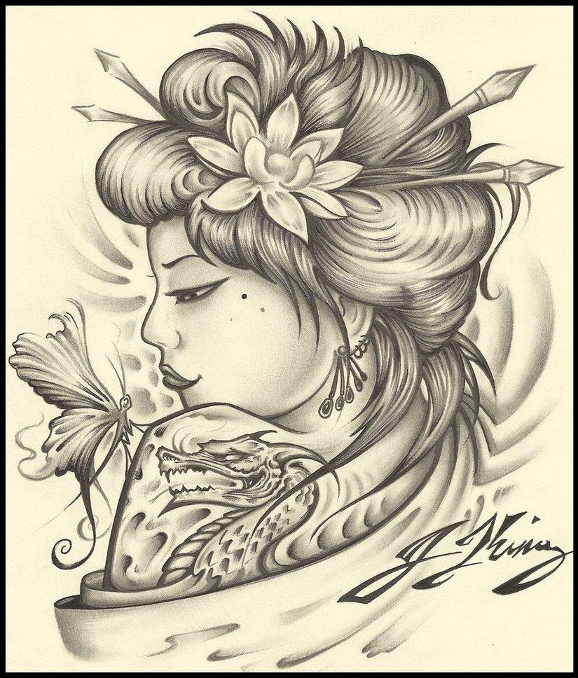 Desenhos De Gueixas Para Tatuagem