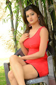 Poojitha sizzling in red dress-thumbnail-2