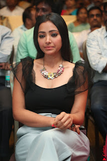 Swetha Basu in a Black Sleeveless Top Long Skirt at Mixture Potlam Movie Audio Launch 016.JPG