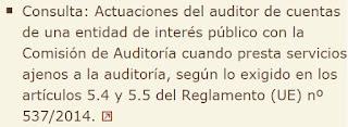 Consulta: Actuaciones del auditor de cuentas de una entidad de interés público con la Comisión de Auditoría cuando presta servicios ajenos a la auditoría, según lo exigido en los artículos 5.4 y 5.5 del Reglamento (UE) nº 537/2014